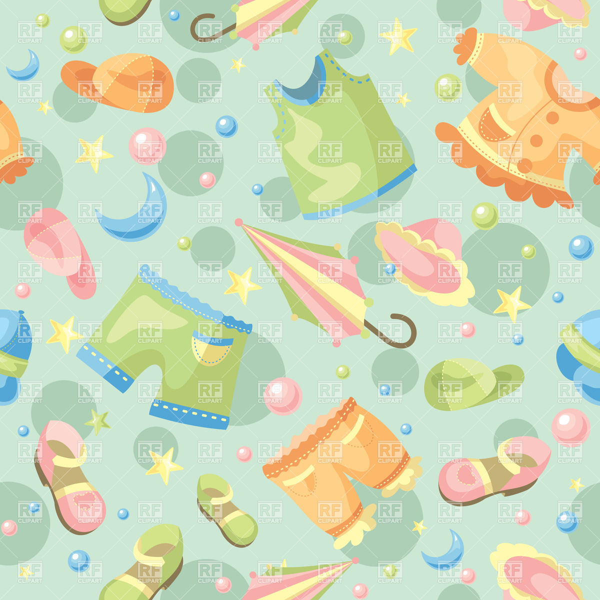 Seamless background with childish clothing and baby accessories 1200x1200