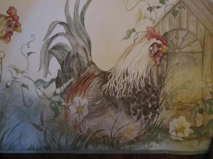 kitchen rooster wallpaper borders Pinterest 736x552