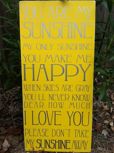 YOU ARE MY SUNSHINE Wood Sign Painted Distressed Background Vinyl Let 373x500