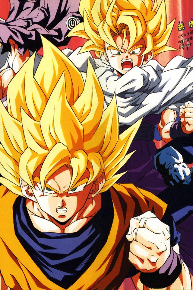 FREEIOS7 dragonball z goku fire   parallax HD iPhone iPad wallpaper 640x960