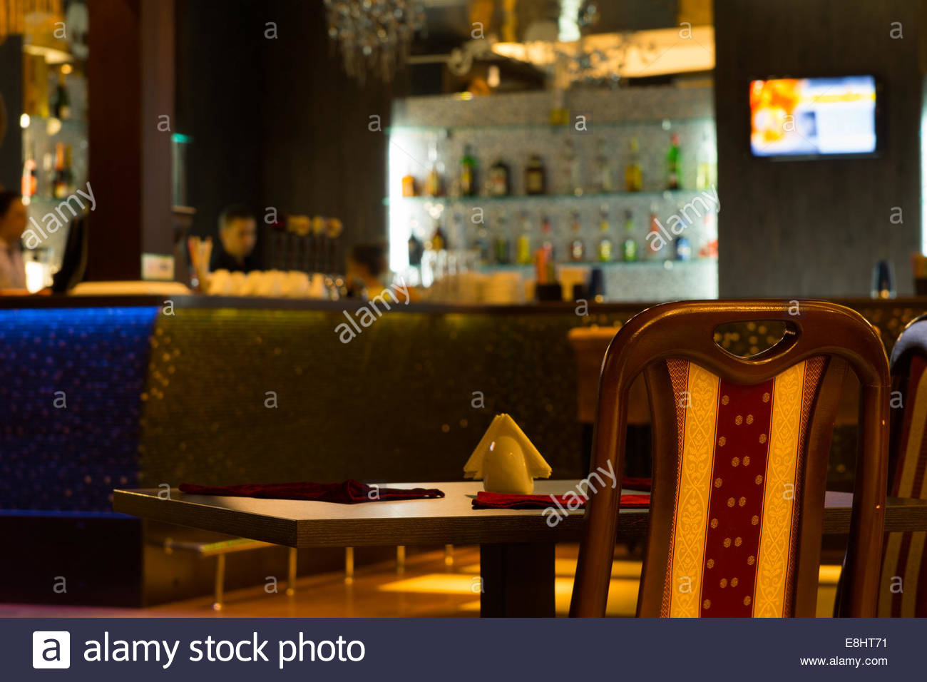 Empty Table in Barroom with Blurred Background Stock Photo 1300x956