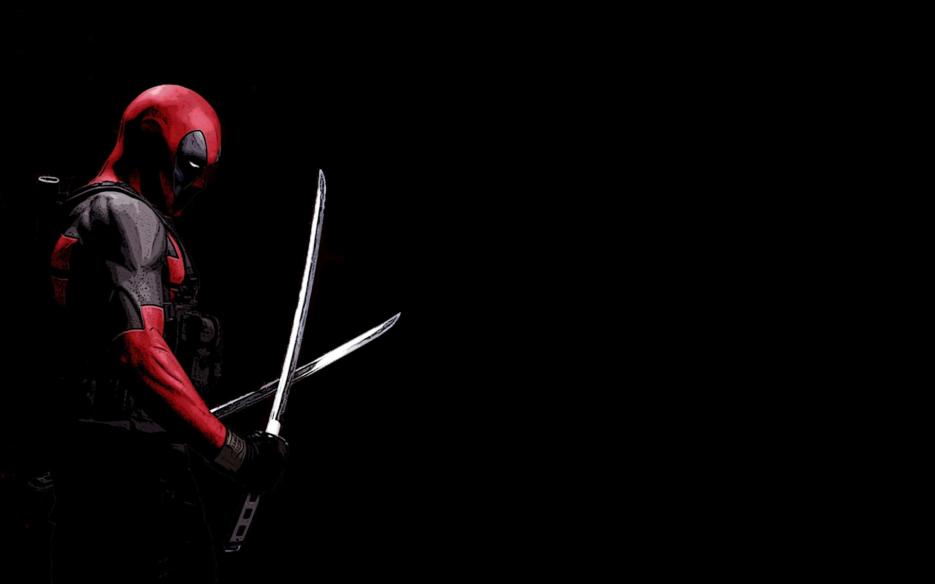 Deadpool Black Background Katana Marvel Comics HD Wallpaper 19201200 1920x1200