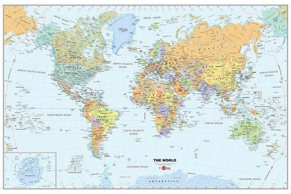World Peel and Stick Dry Erase Wall Map 36x24in GeoNova 600x400