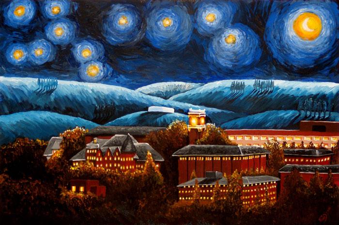 Starry Night at WSU painting by Avi Datta My Story staff 12 700x464