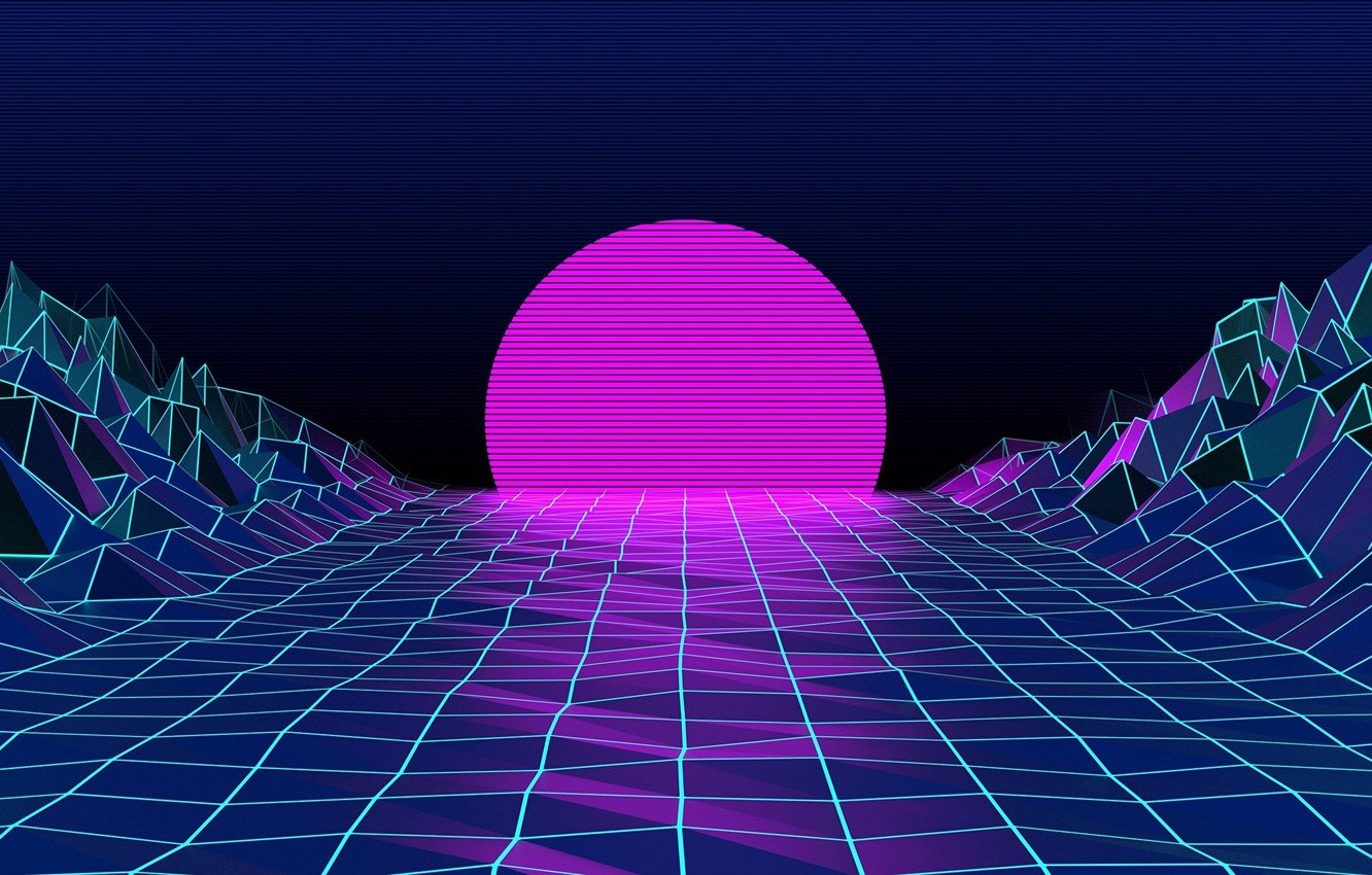 Wallpaper The sun Mountains The moon Neon Graphics Electronic 1332x850