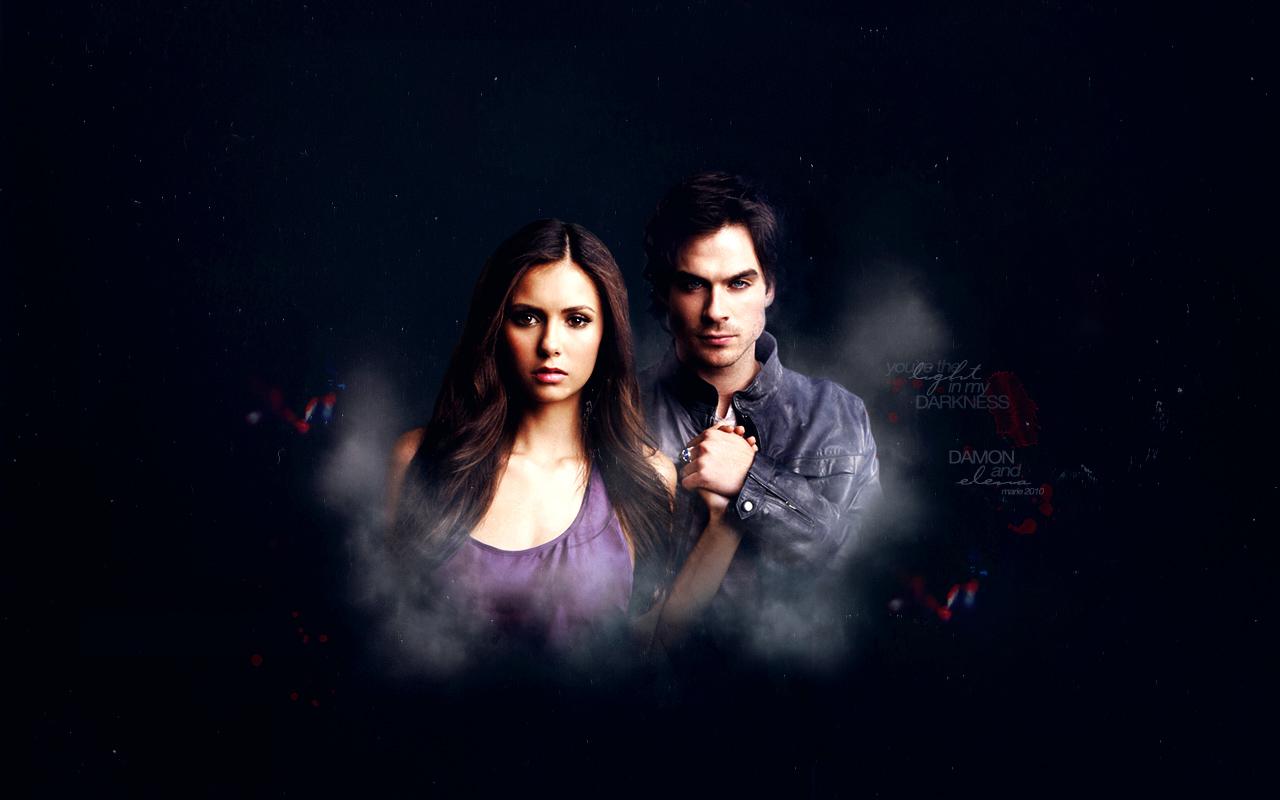 The Vampire Diaries   Elena and Damon Wallpaper 1280x800