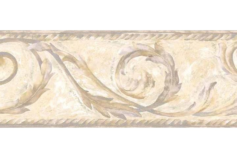 Taupe Leaf Scroll Wallpaper Border 900x600
