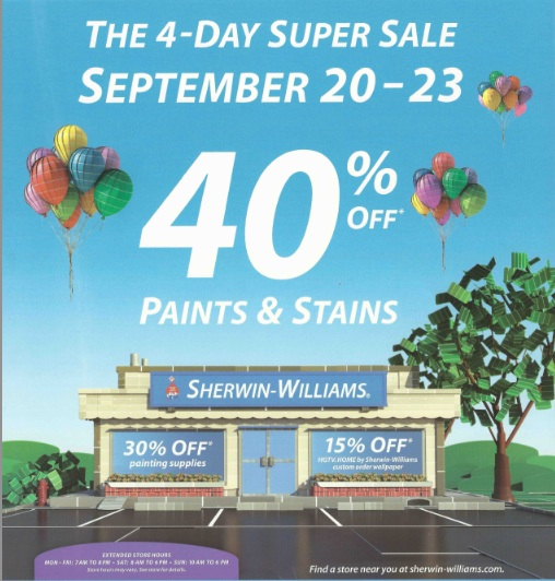 Sherwin Williams Four Day Super Sale   Indiana Design Center 508x532