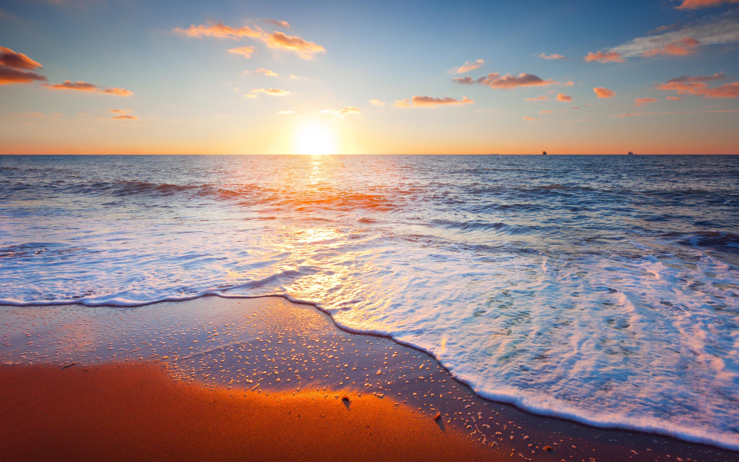 beach sand clouds landscape sea sky beautiful sunset scene wallpaper 2560x1600