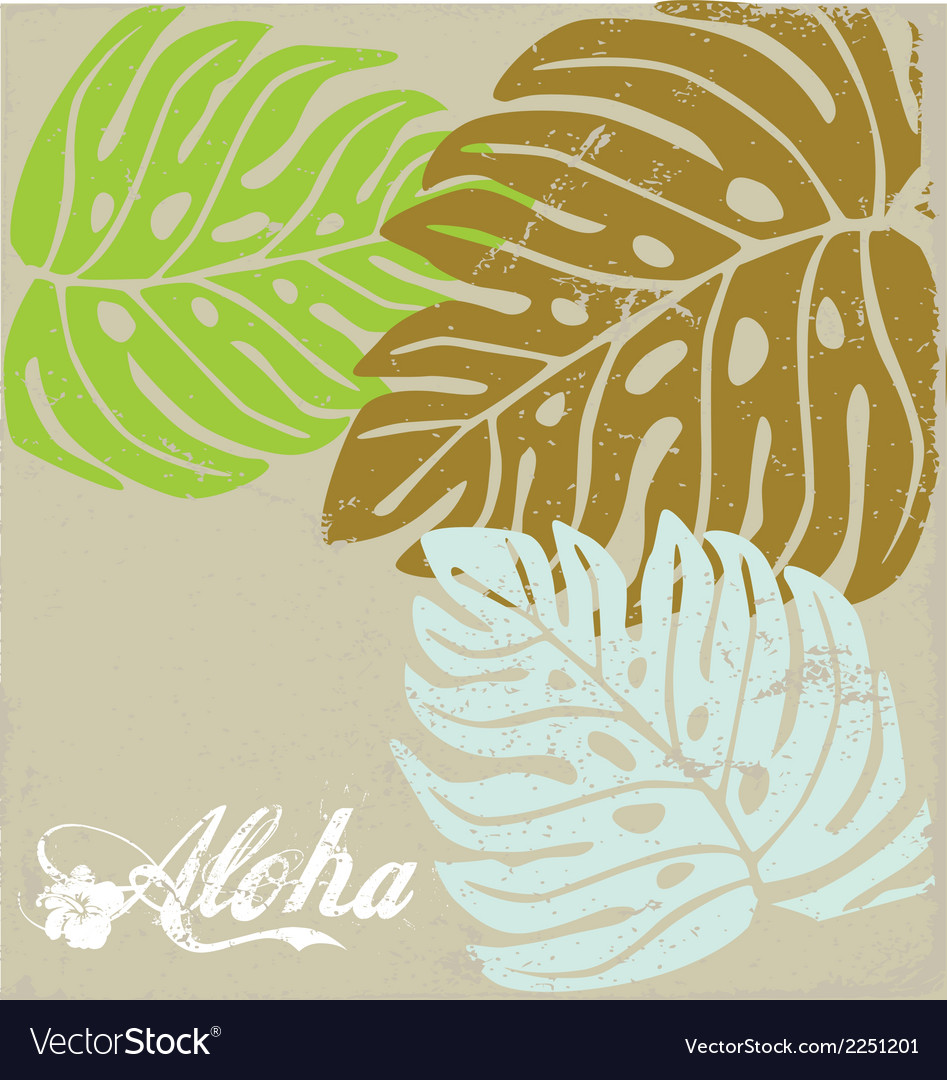 Hawaii text aloha Background with Hibiscus leave Vector Image 947x1080