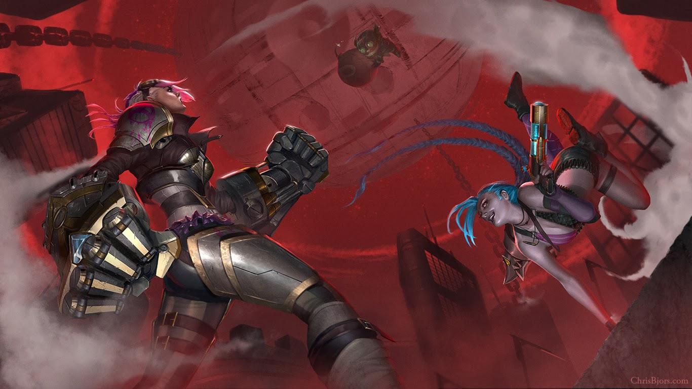 vi jinx and ziggs league of legends hd wallpaper lol champion skin 1366x768