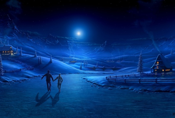 Wallpaper Winter night graphics couple river ice skate moon 590x400