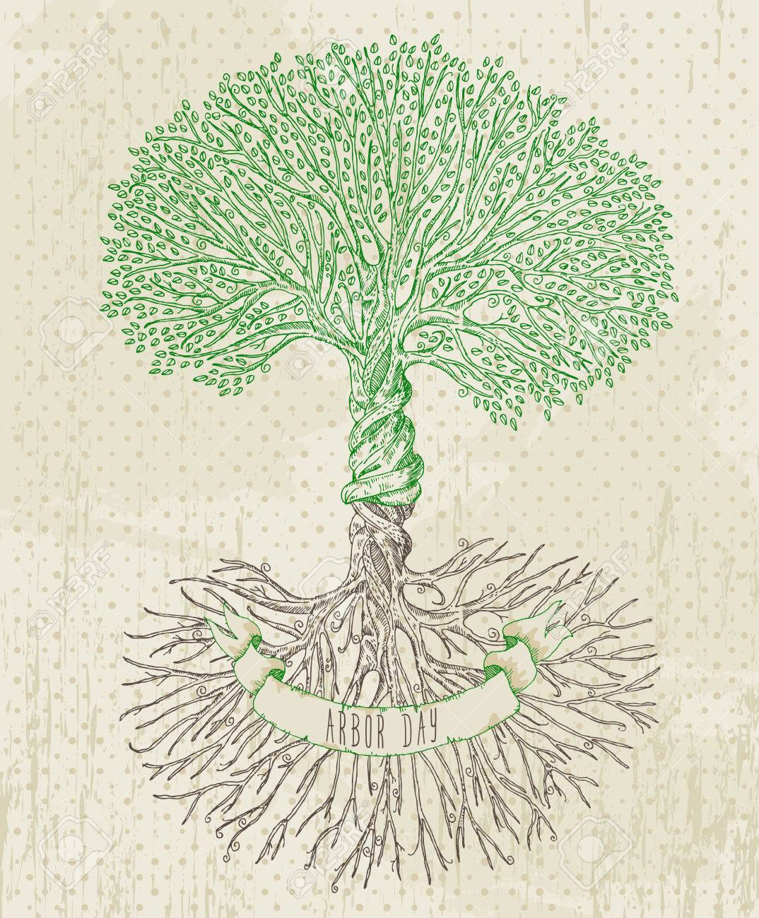 Tree With Roots On Rough Background Arbor Day Poster In Vintage 1074x1300