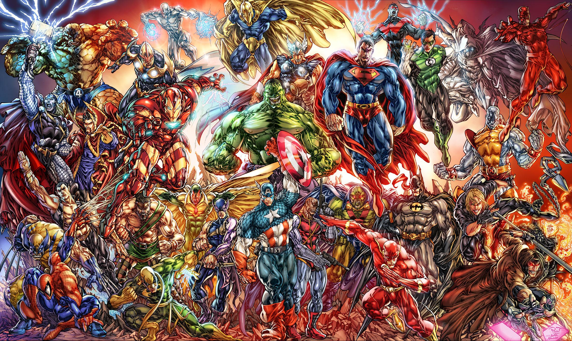 Green Lantern Nightwing Flash Moon Knight DC Comics Wallpaper 2362x1408