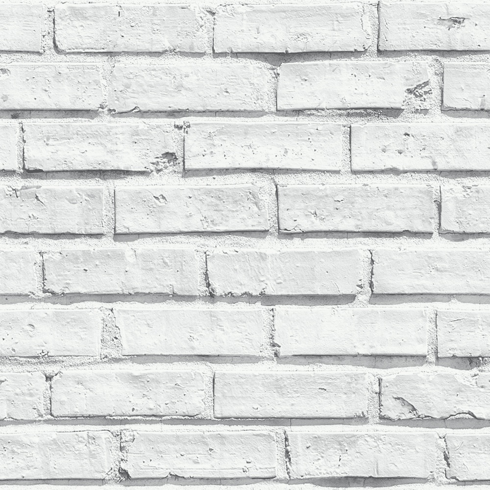 VIP White Brick Wall Photographic Stone Effect Wallpaper 623004 1000x1000