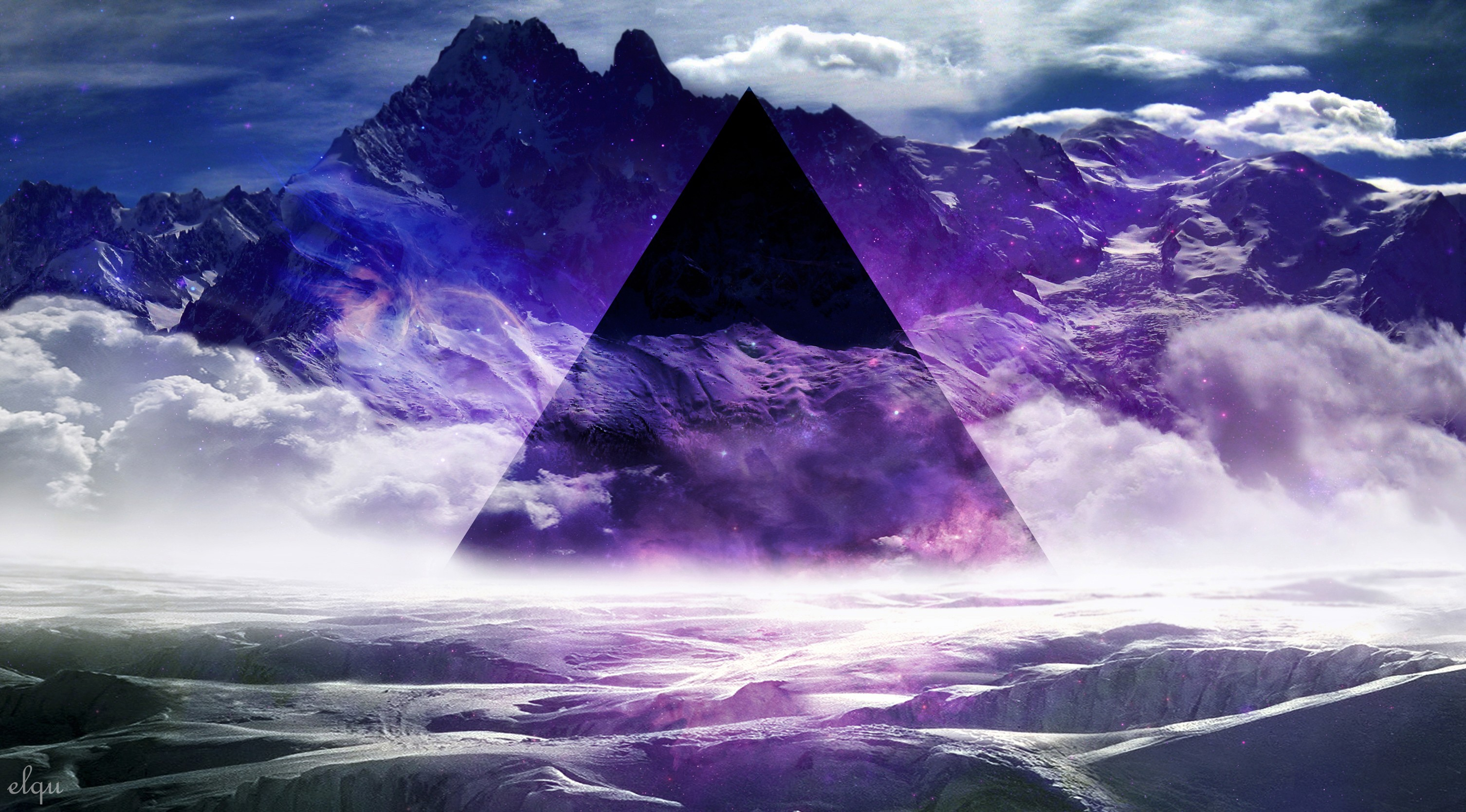 Wallpapers abstract mountains smoke purple mist geometry 3012x1669