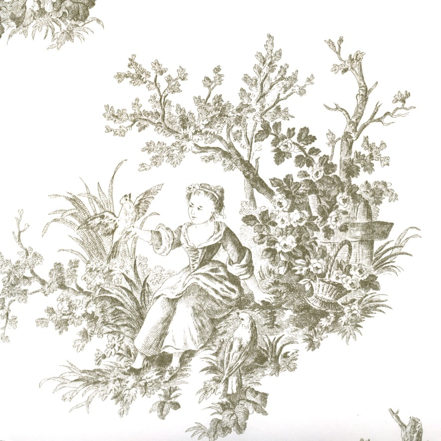 Grey Toile De Jouy Wallpaper Shabby Chic Countryside Toile eBay 886x887