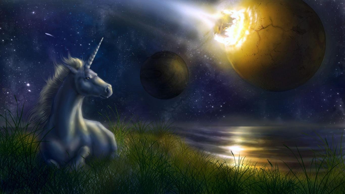 Download Wallpaper 1366x768 unicorn night space planets collision 1366x768