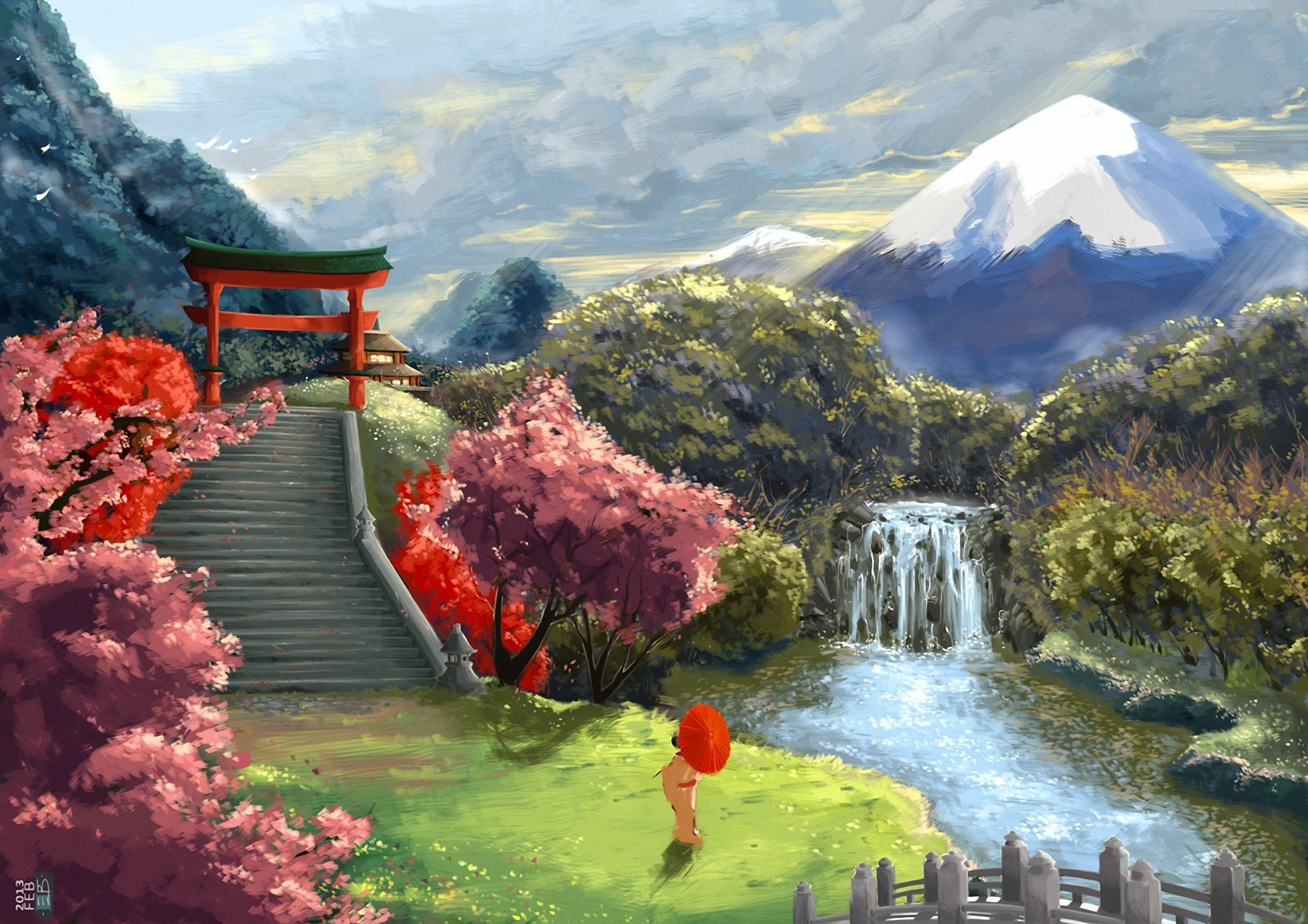 art landscape asia geisha umbrella sakura stairs gate 1920x1357