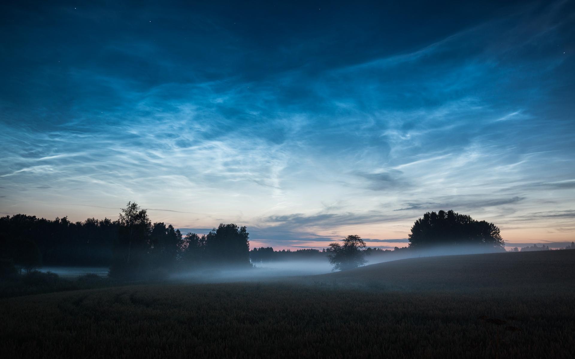 Night Sky Mist Trees Hills HD Wallpaper 1920x1200