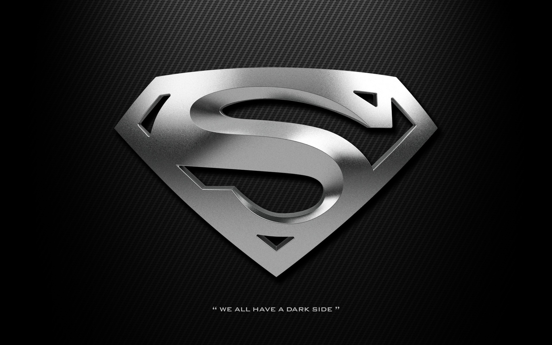 Superman logo wallpaper HD black dark silver chrome carbon We all 1920x1200
