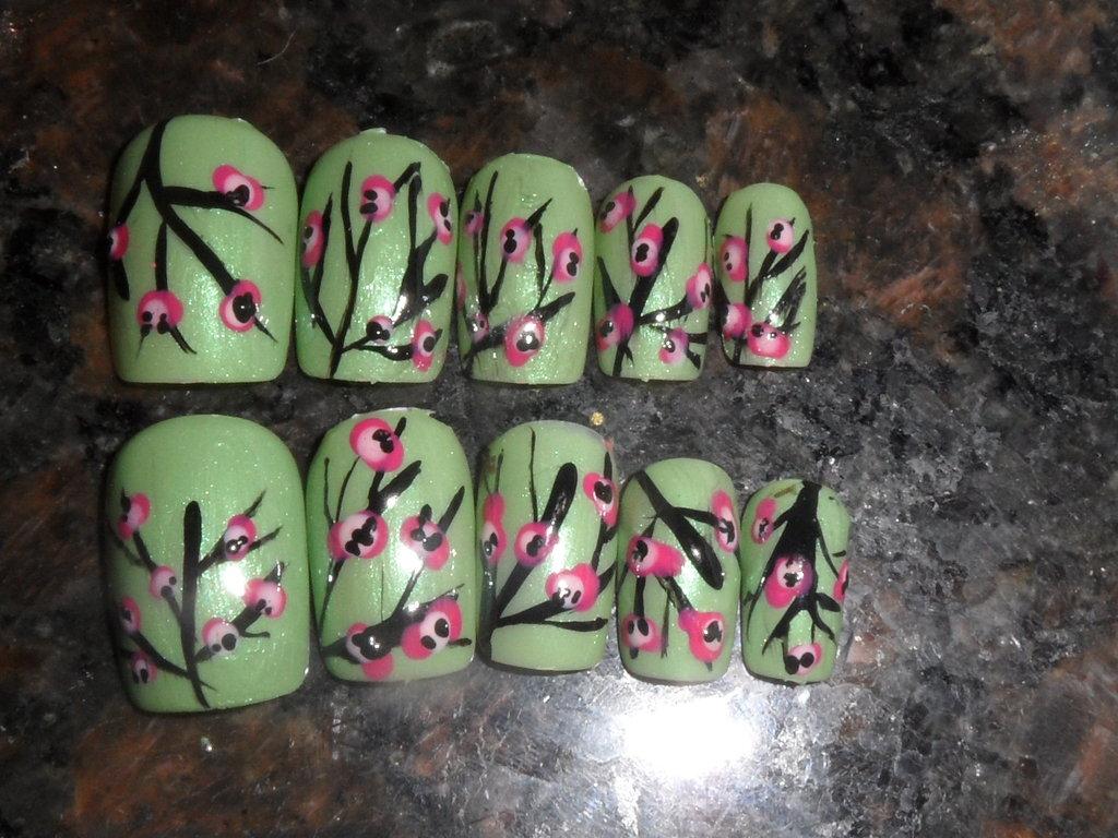 Arizona Tea Can Cherry Blossom Nail Art by TheHungrySquid on 1024x768