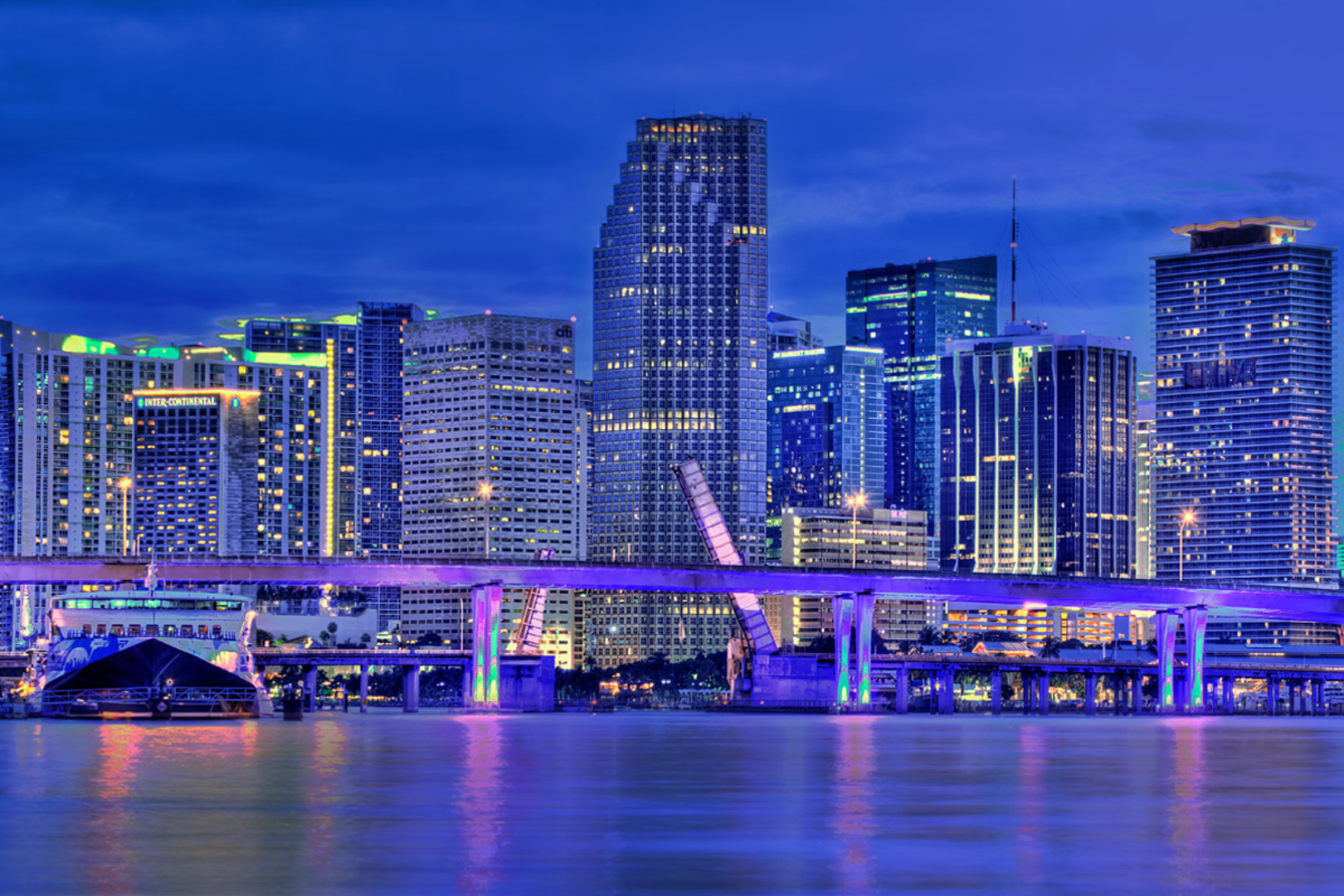 miami florida skyline wallpaper Miami At Night Skyline Wallpaper 4875 .