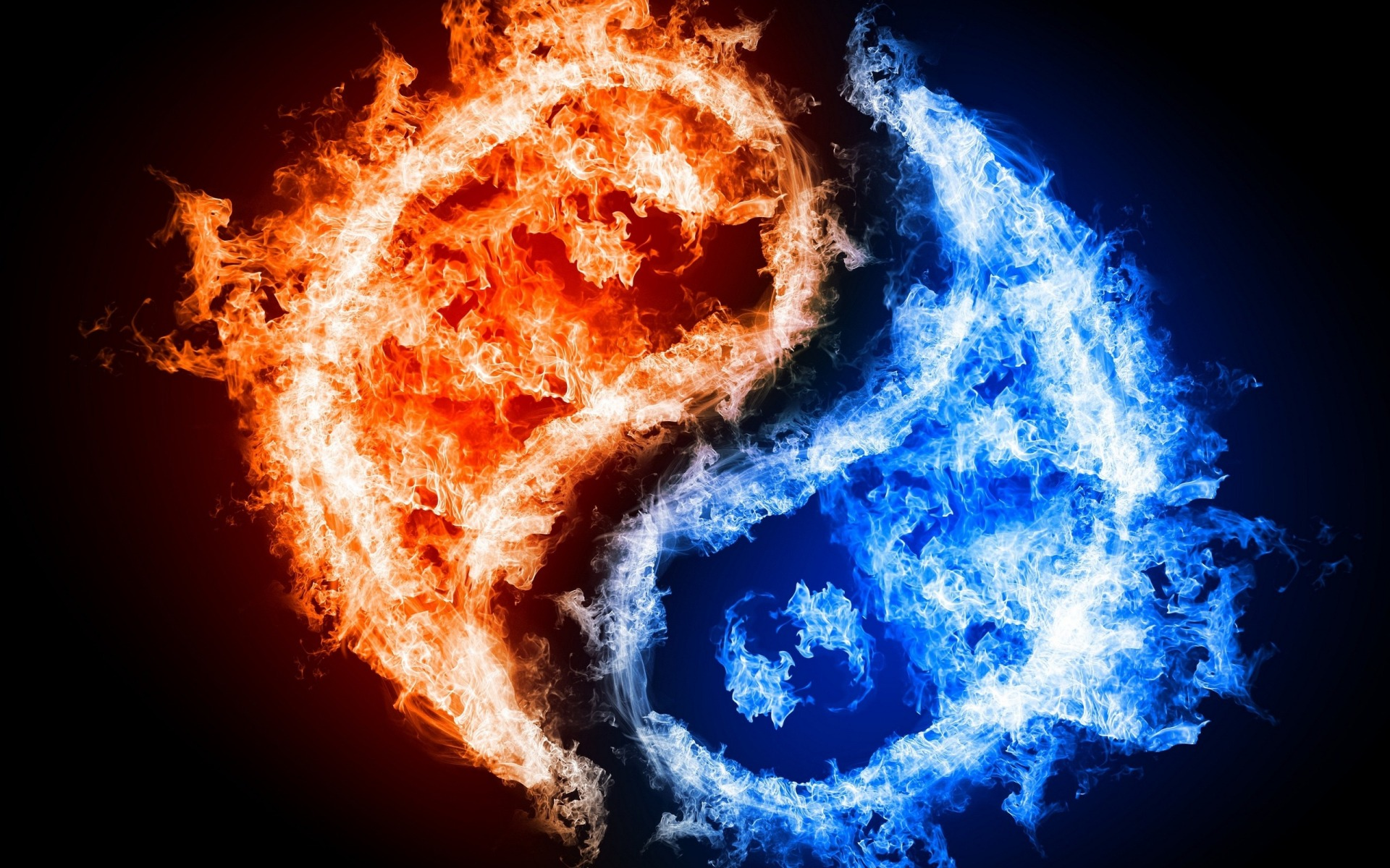 Blue And Red Fire Wallpaper Hd