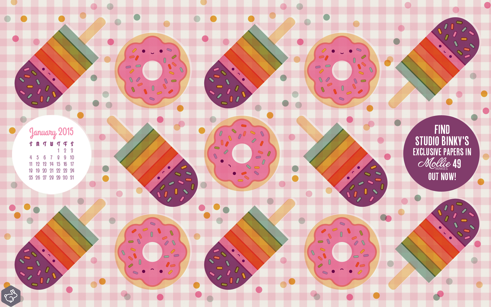 Download the sweet treats desktop calendar by Studio Binky to match 1920x1200