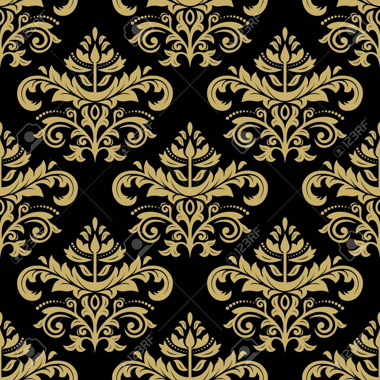 Wallpaper In The Style Of Baroque Seamless Background Golden 1300x1300