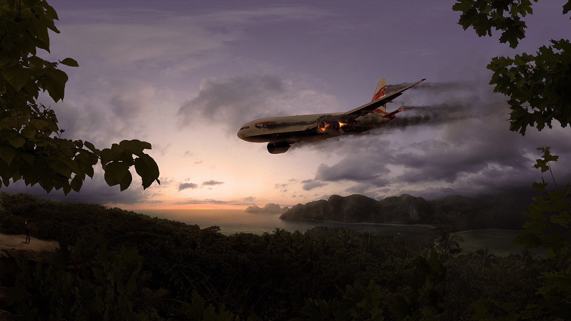 plane island crash wallpapers 1920x1080 1920x1080