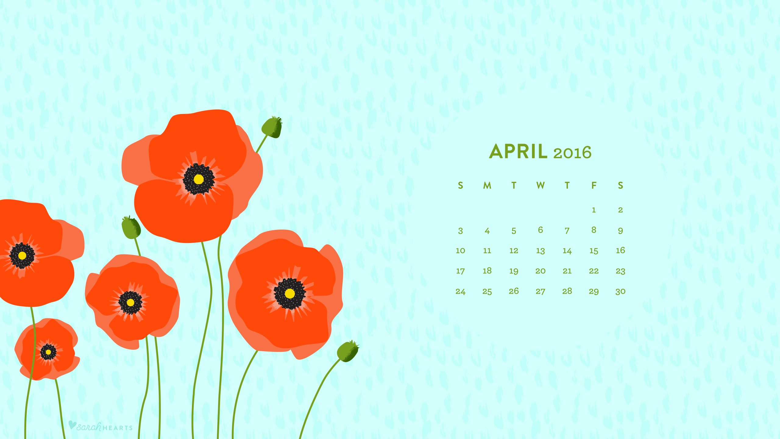 April 2016 Poppy Calendar Wallpaper   Sarah Hearts 2560x1440