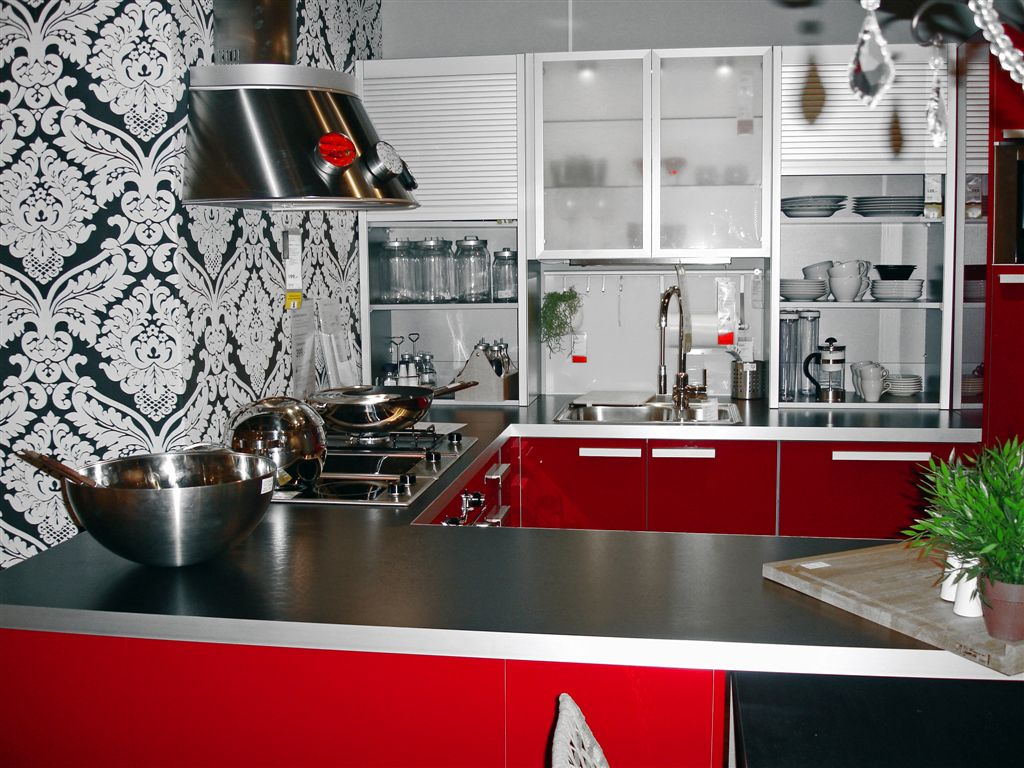 black and silver kitchen wallpaper