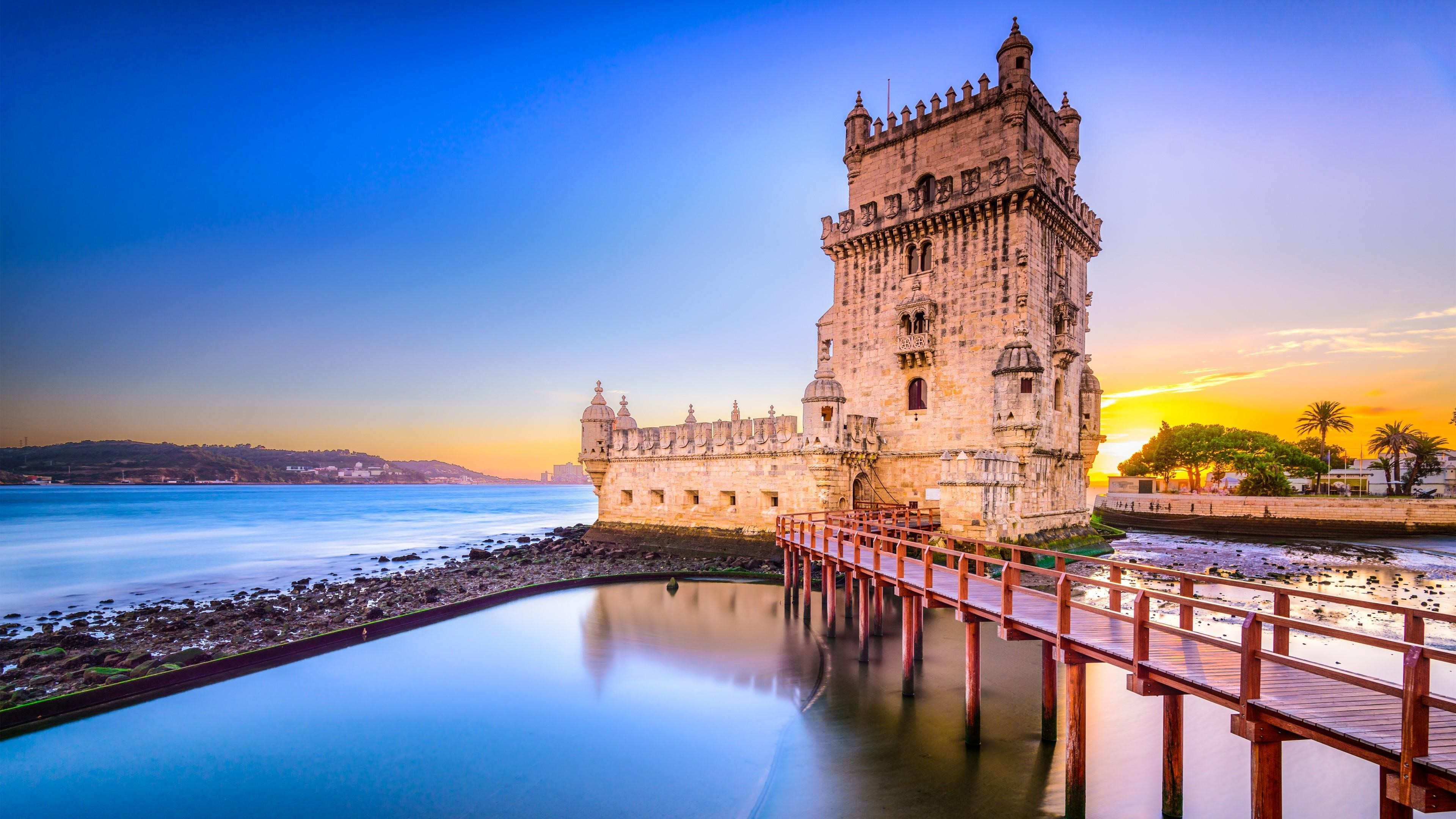 Belem Tower in Lisbon Tourist Attraction Portugal 4K Wallpapers 3840x2160
