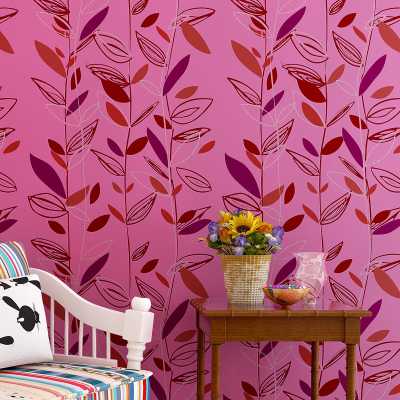 2016 High Quality Luxury Leaf 3D Wallpaper New Trending Flocking 800x800