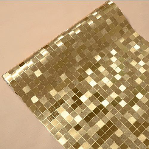 Gold Silver stereo waterproof plaid wallpaper mosaic bathroom kitchen 500x500