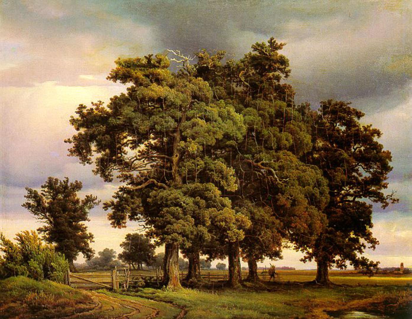 Oak Trees   German Art Wallpaper Image 1392x1080