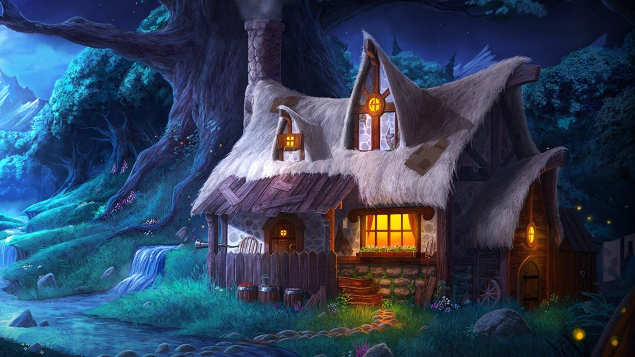 Fantasy winter cabin in snow wallpaper 1920x1080 719530 1244x700