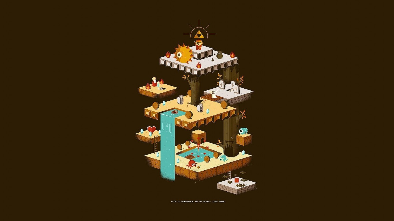 Nintendo Zelda classics fan art retro games wallpaper 1366x768