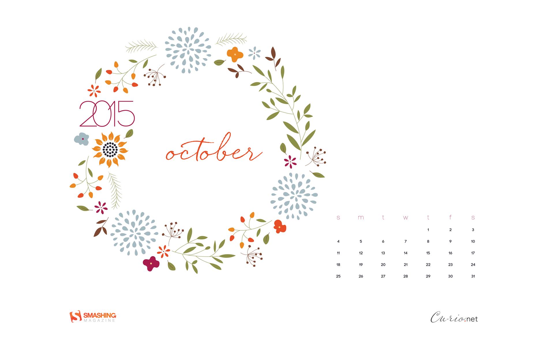 Desktop Calendars Wallpapers October 2015 Fall Floral 1920x1200 1920x1200