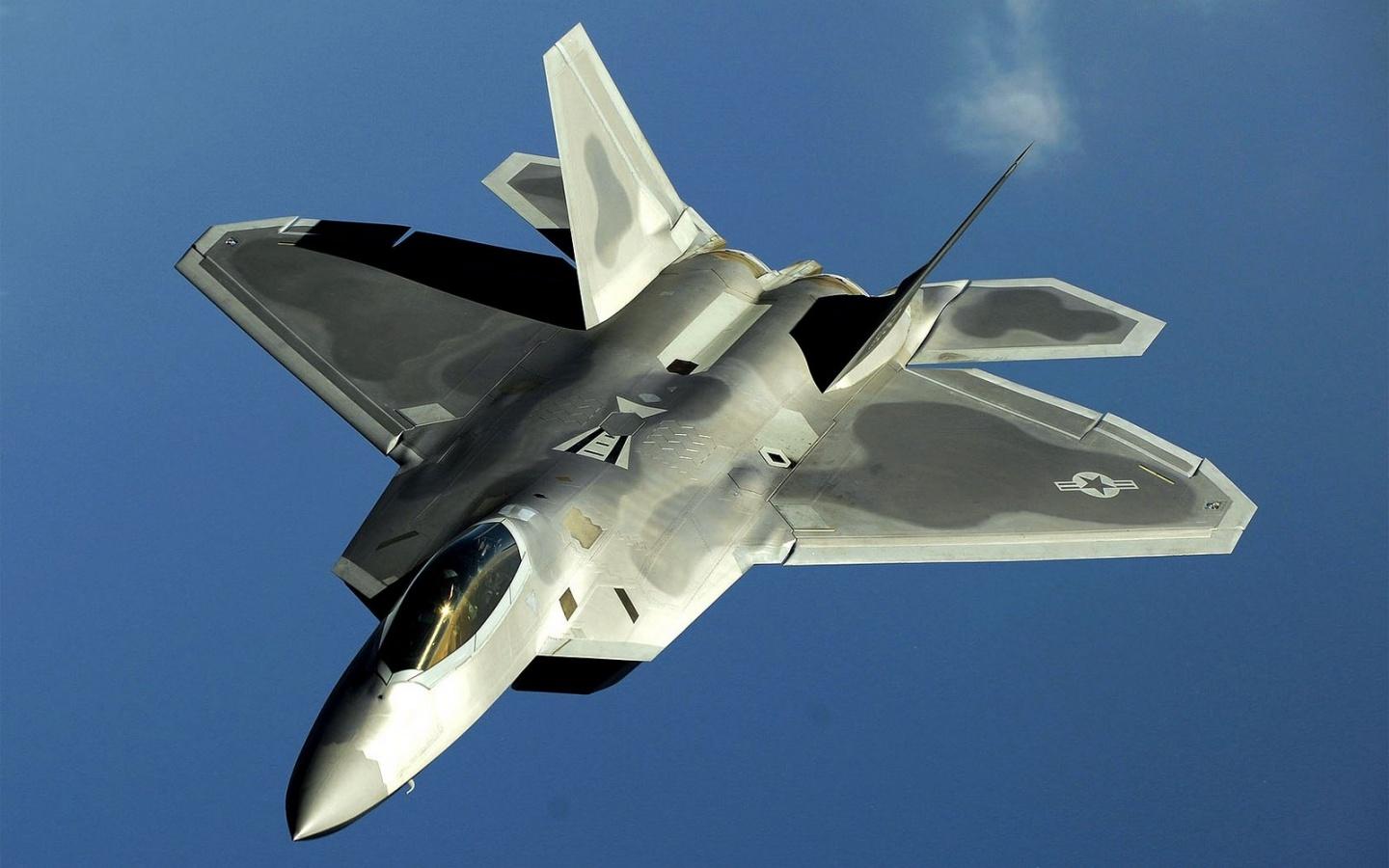F22 Raptor on Blue Sky HD Wallpaper   HD Wallpaper HD Wallpaper 1440x900