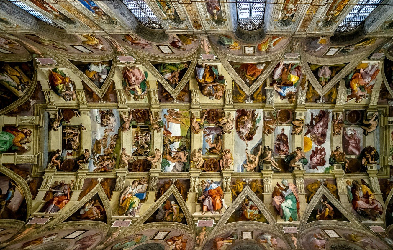 Wallpaper the ceiling Michelangelo The Vatican The Sistine 1332x850