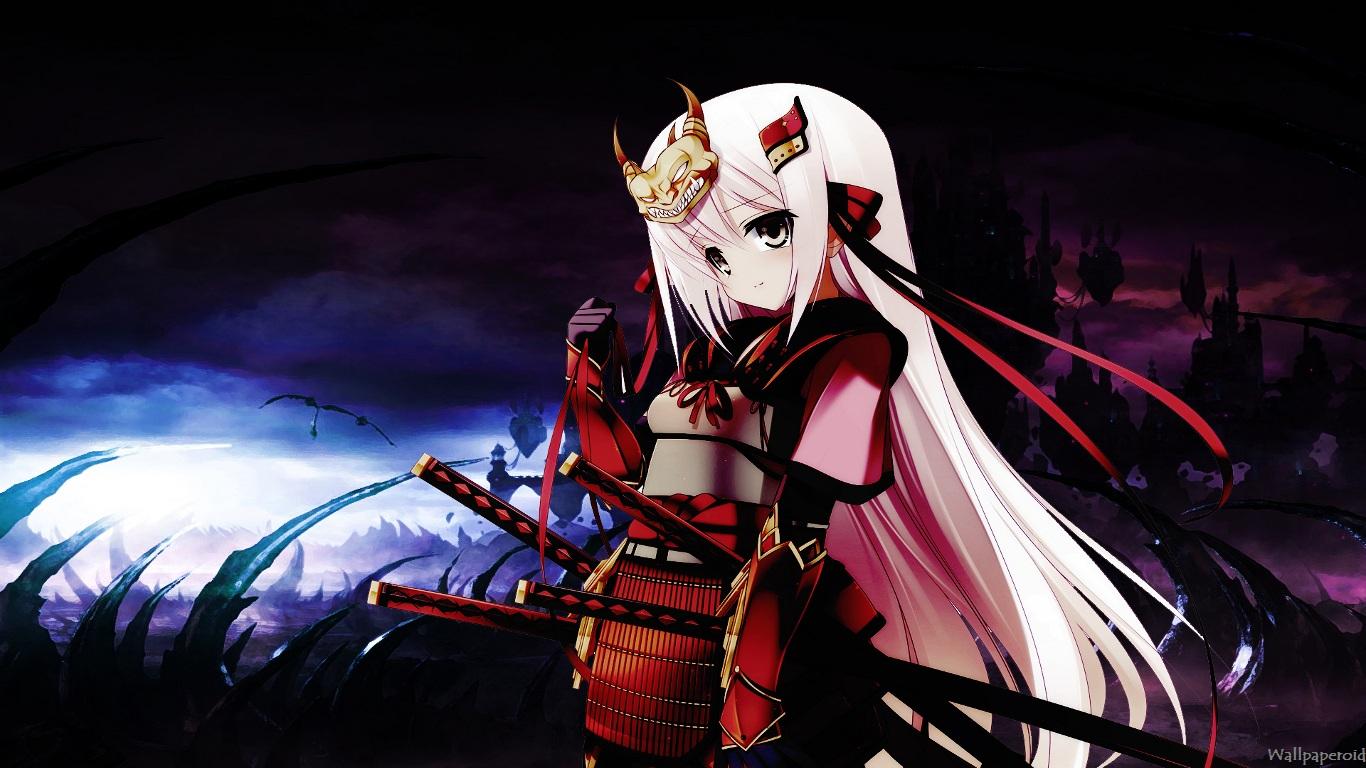 Anime Samurai Girl   Wallpaperoid 1366x768