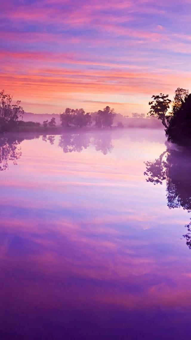 640x1136 Purple Sky River Trees Reflect Iphone 5 wallpaper 640x1136
