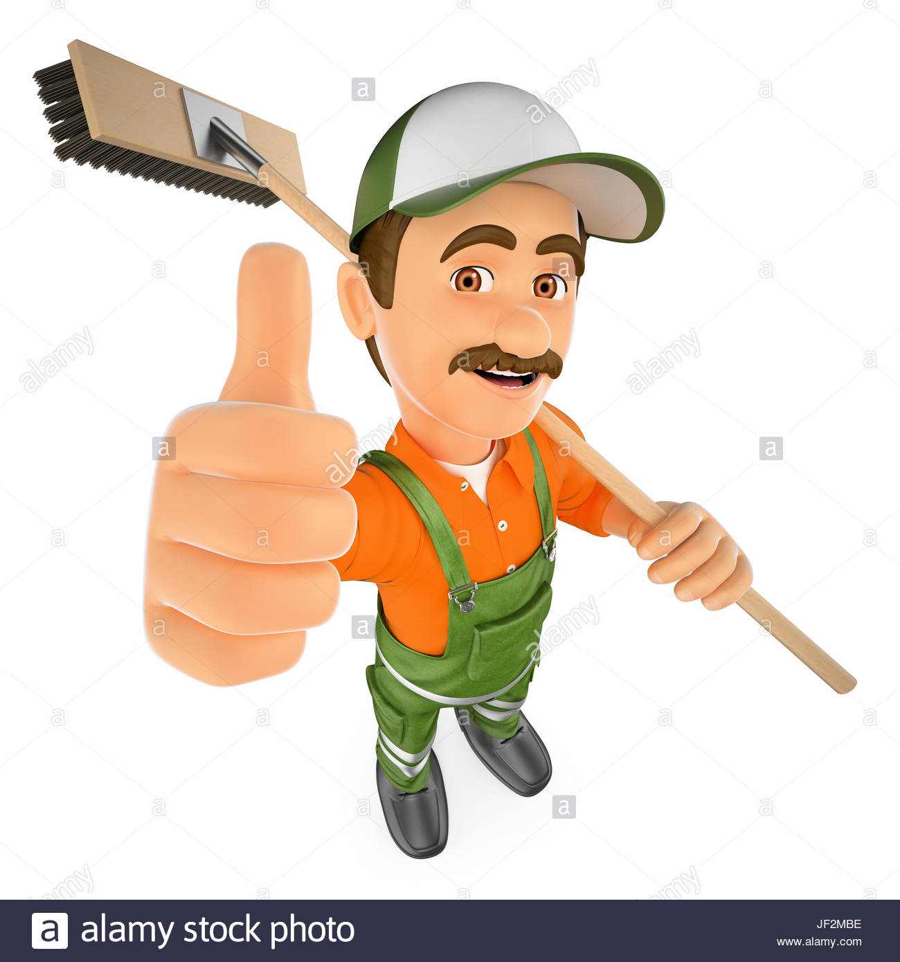 3d working people illustration Street sweeper with thumb up Stock 1300x1390