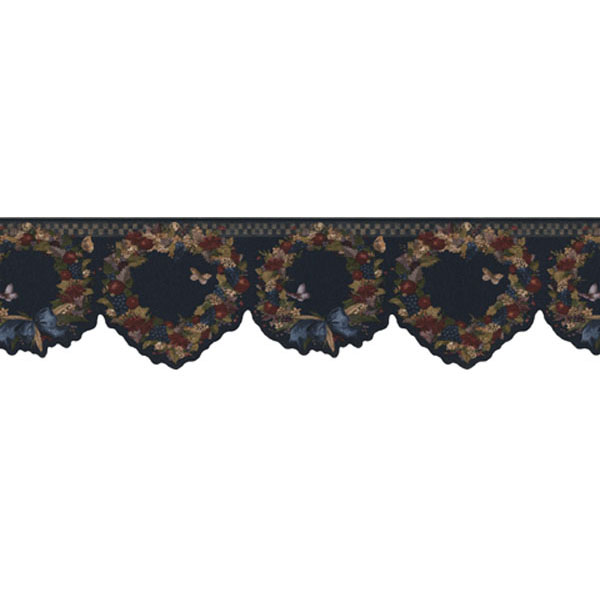 451 1797 Navy Country Wreath   Brewster Wallpaper Borders 600x600