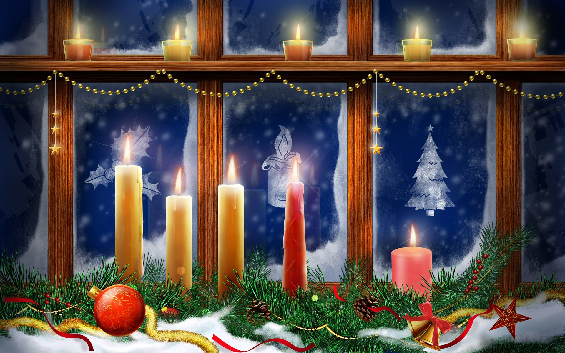 Christmas Candles HD Wallpaper Theme Bin   Customization HD 1920x1200