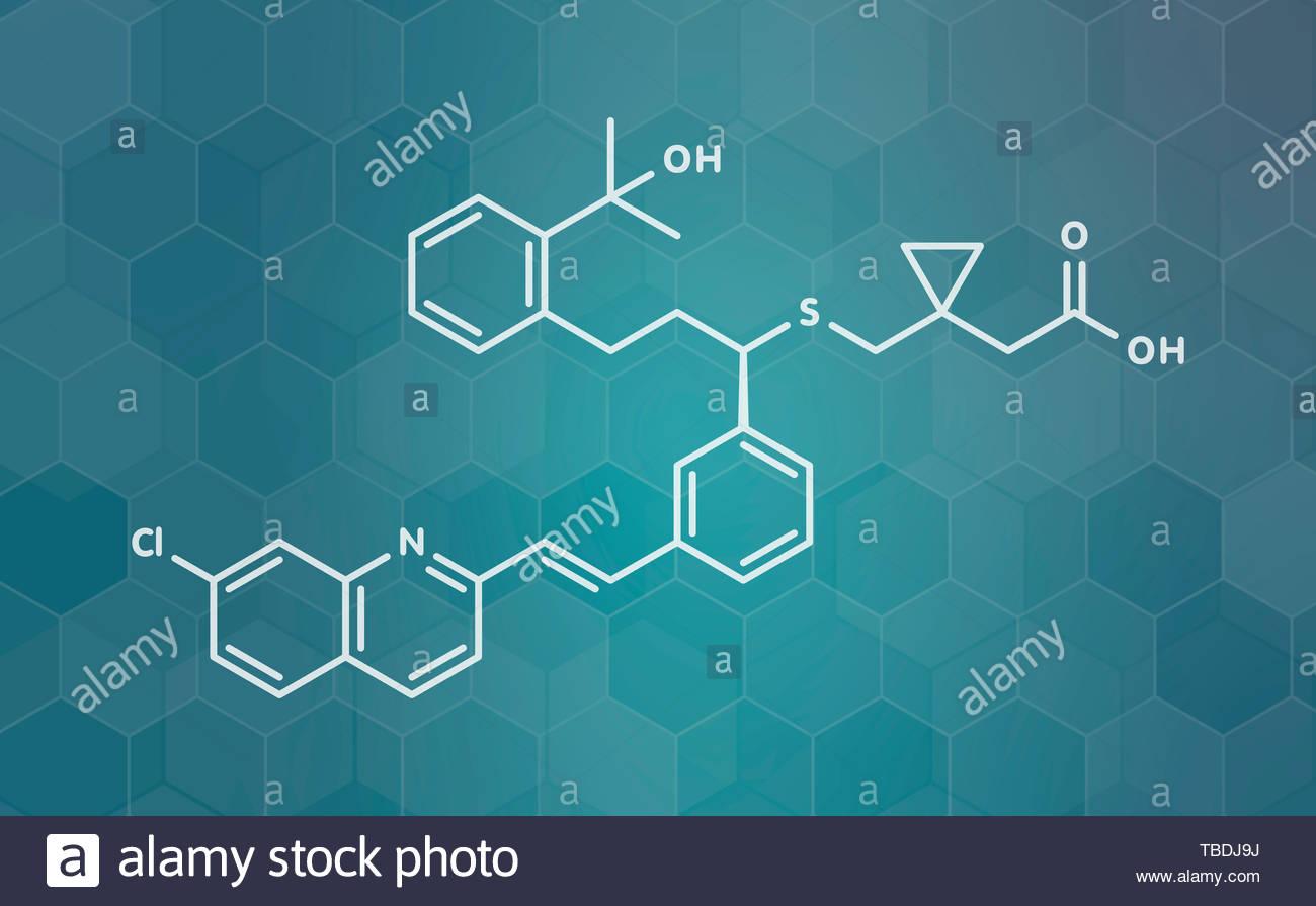 Montelukast asthma and airway allergy drug molecule White 1300x895