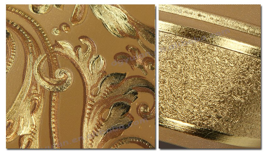 Retro Gold Metallic Floral Brown Copper Embossed Gold Pink Wall Wallpaper Border
