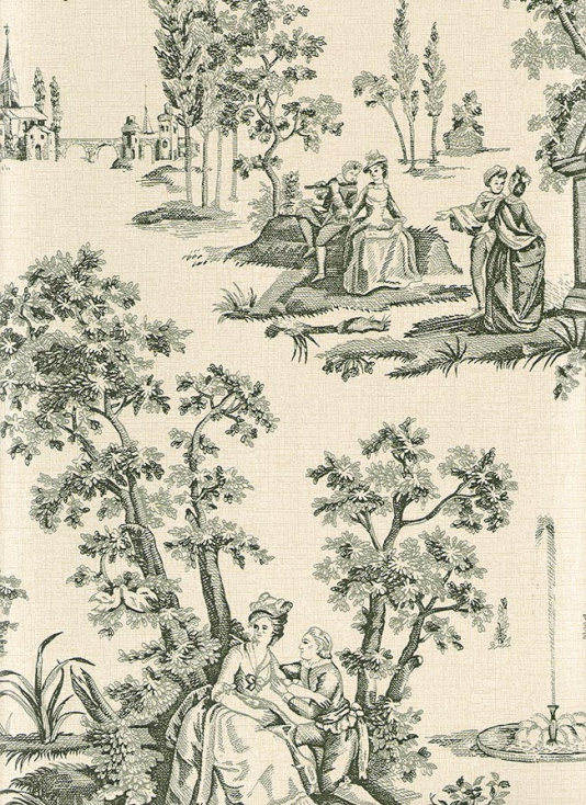 Courting Toile Wallpaper Black and Beige Toile de Jouy 534x734